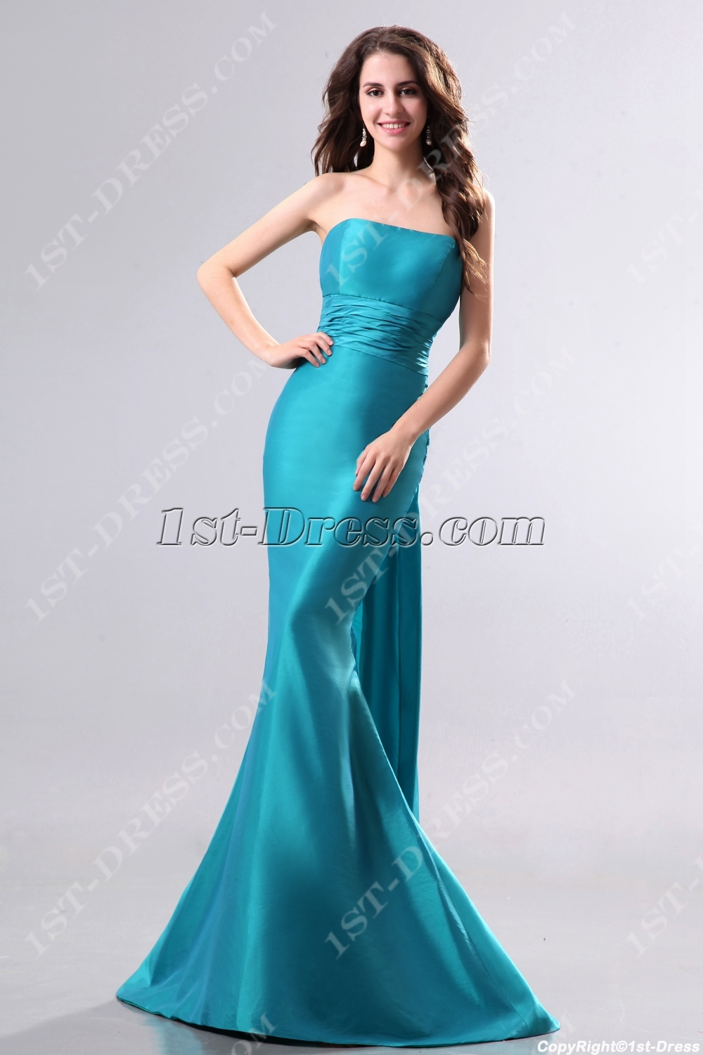 Elegant Teal Blue Long Sheath Evening Dress
