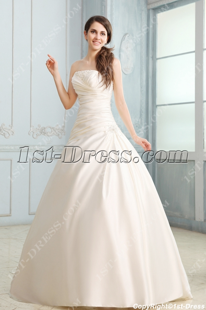 Fabulous Strapless A Line Satin Corset Wedding Dress1st Dress