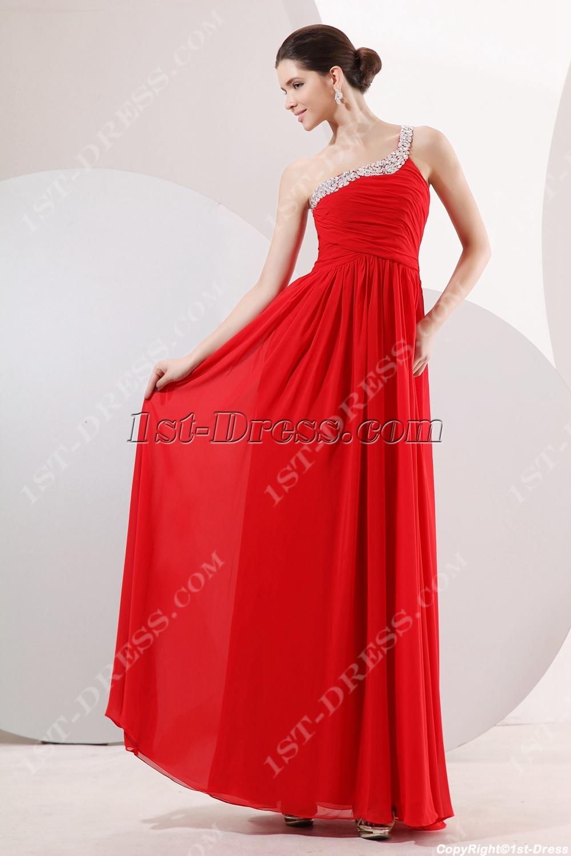 Fancy Red One Shoulder Pregnant Evening Dress:1st-dress.com