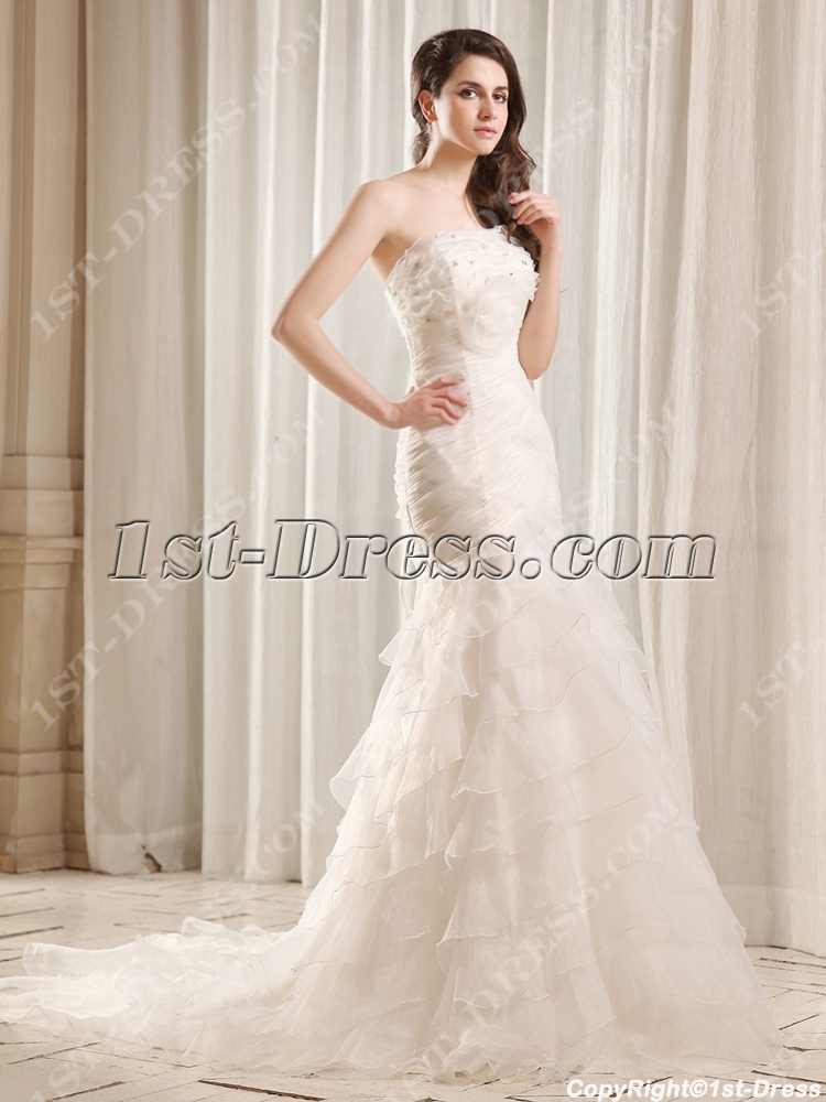 Flatter strapless long trumpet bridal gown with train 1st for Strapless wedding dresses with long trains
