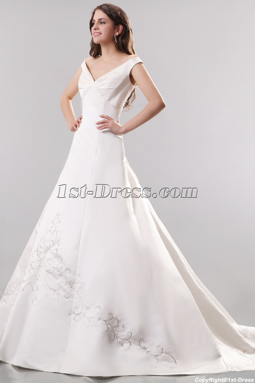 Ivory Off Shoulder Satin Embroidery Wedding Gowns:1st-dress.com