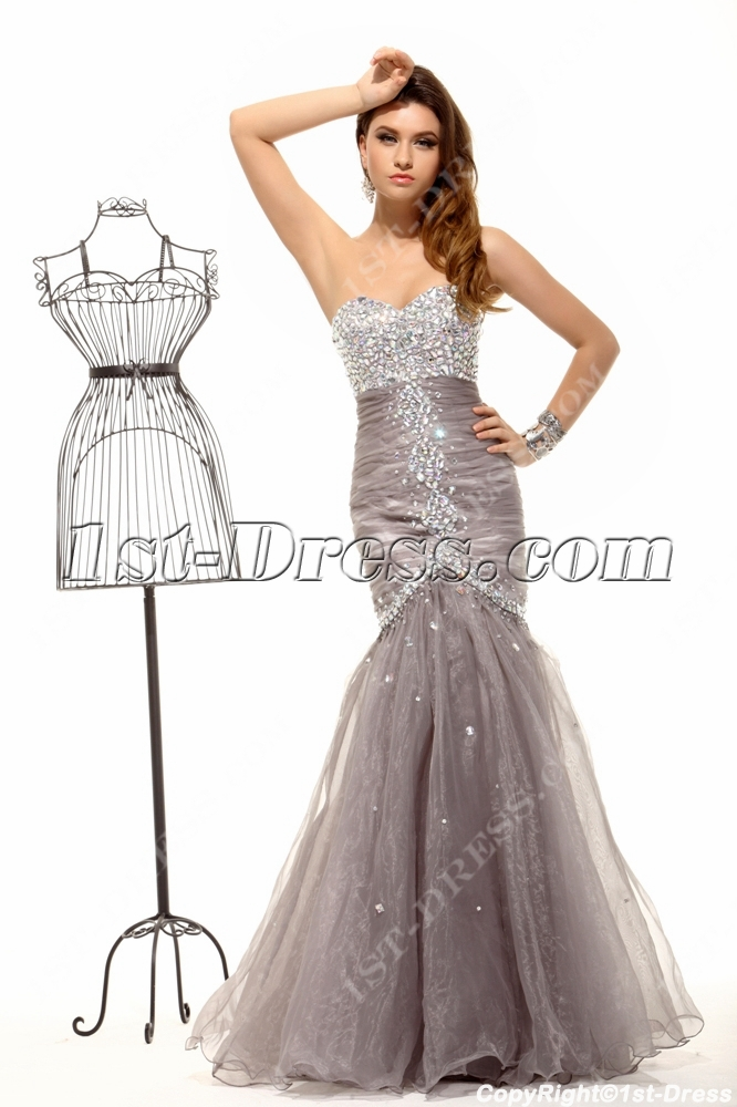 Luxurious Pretty Gray Silver Mermaid Evening Dress 2014:1st-dress.com