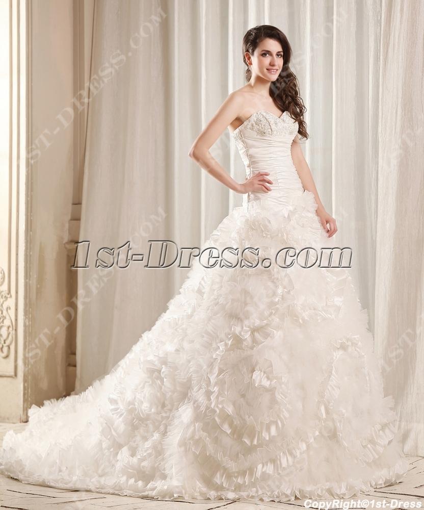 Luxurious Princess Wedding Dress 2014 with Flowers:1st-dress.com