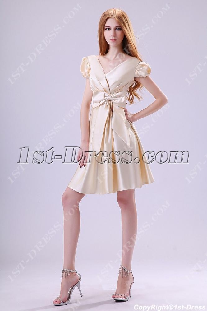 920de607123 Modest Champagne Short Sleeves Graduation Dresses 8th Grade (Free Shipping)