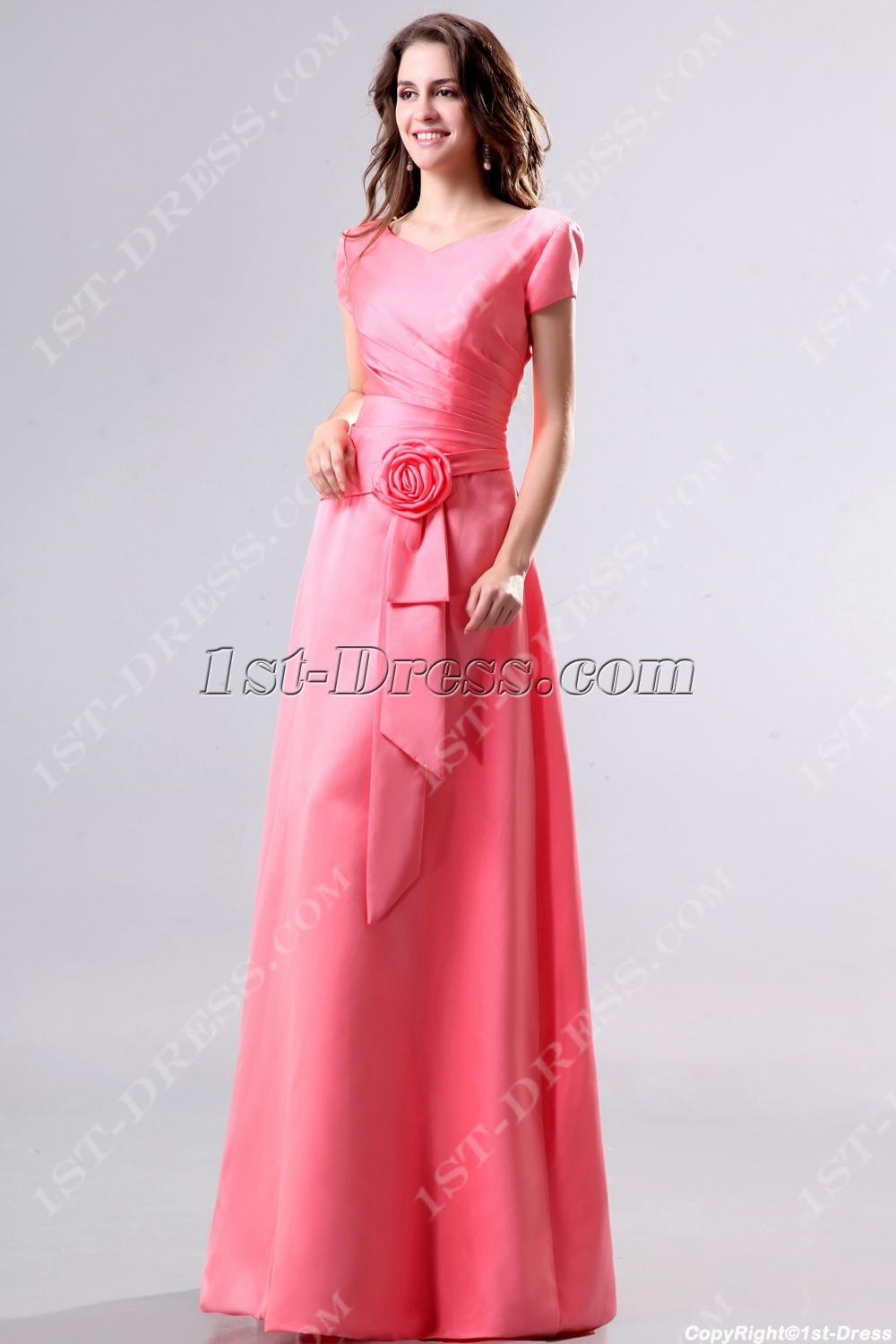 Modest coral v neckline short sleeves bridesmaid dress1st dress modest coral v neckline short sleeves bridesmaid dress loading zoom ombrellifo Choice Image
