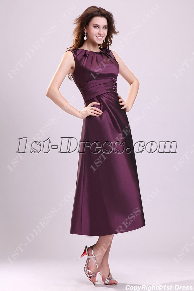 9bad695600f0 Modest Grape Tea Length Taffeta Formal Evening Gown:1st-dress.com
