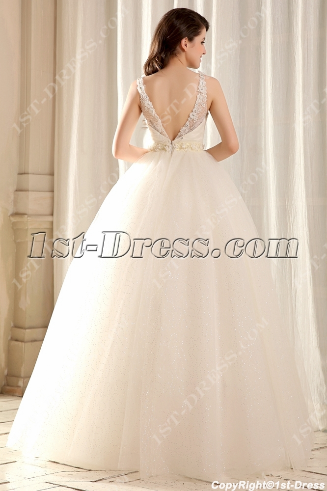a9b19093db2 Modest Illusion Neckline Quinceanera Gown with V-Back (Free Shipping)