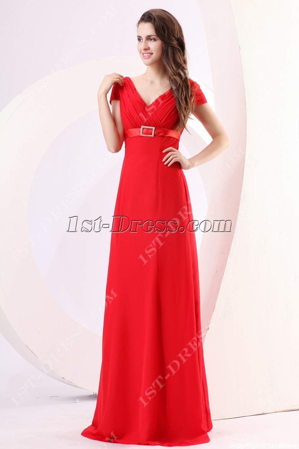 ... > 2013 Prom Dresses >Modest Red Prom Dresses with Short Sleeves