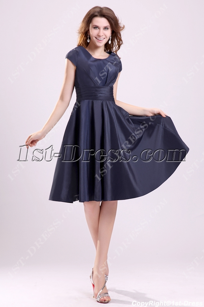 6060997f9 Navy Blue Modest Junior Prom Dresses with Cap Sleeves (Free Shipping)
