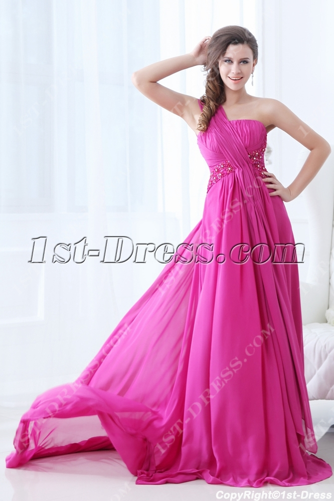 New Arrival Plus Size Prom Dress 2014 With One Shoulder1st Dress
