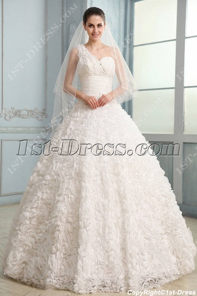 Noble Three Dimensional Flowers Wedding Dress with One Shoulder:1st ...