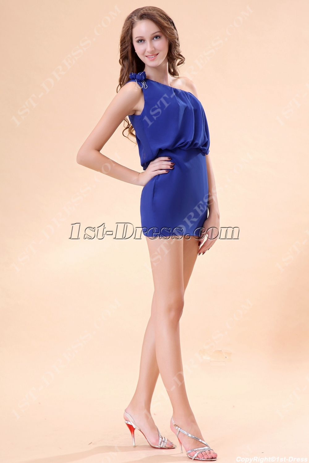 One Shoulder Royal Blue Homecoming Dresses under 100 $114.00