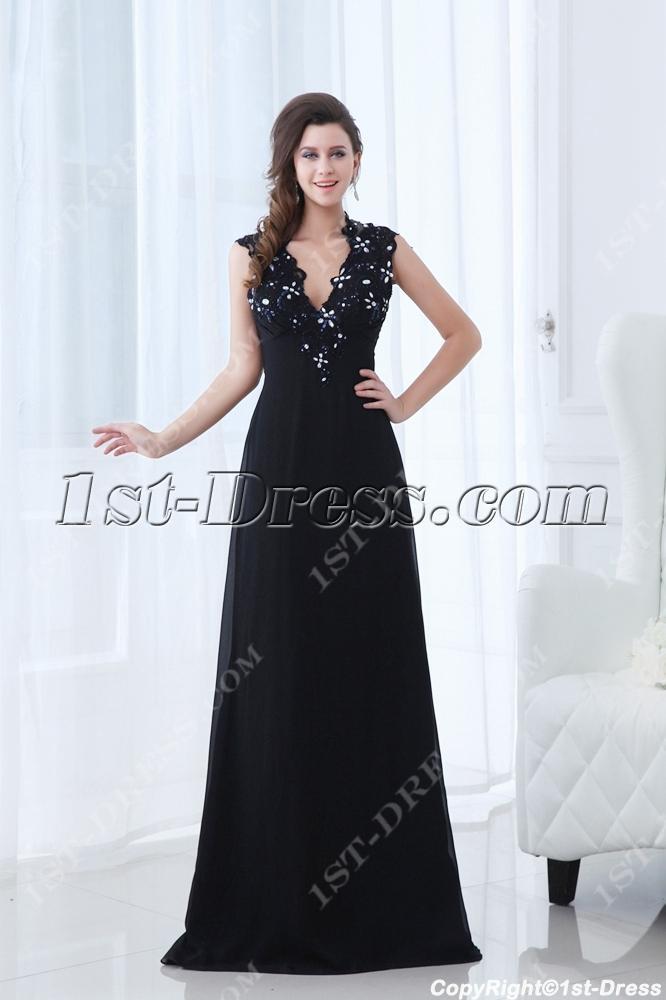 images/201311/big/Plunge-V-neckline-Black-Long-Prom-Dress-with-Keyhole-for-Mother-of-Groom-3595-b-1-1384870938.jpg