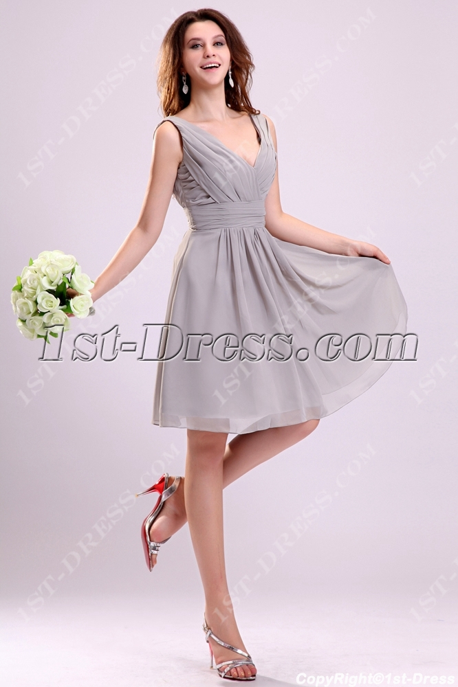 Pretty gray chiffon bridesmaid dress for large bust 1st for Wedding dress for large bust