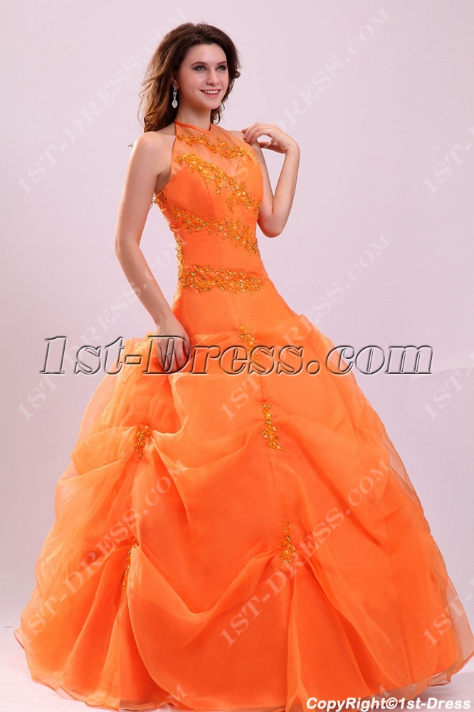 90405509a0 prev  next. Specifications. Product Name  Pretty Halter Orange Organza Long  15 Quinceanera Dress