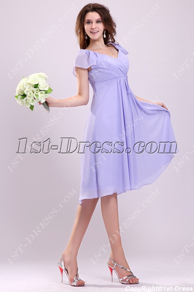 Pretty Lavender Butterfly Sleeves Short Plus Size Homecoming Dresses ...