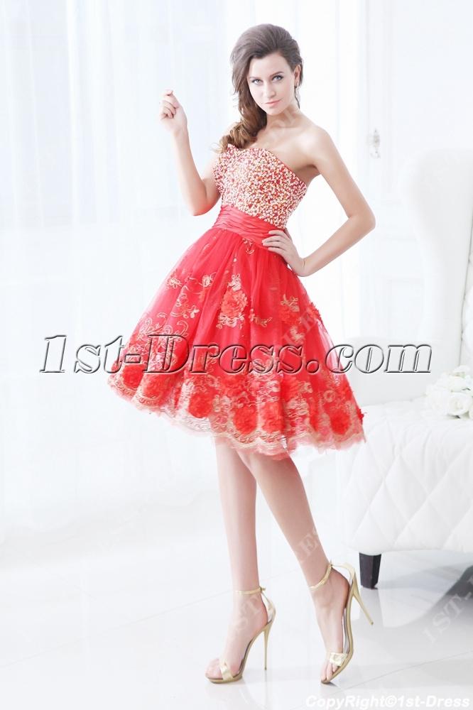 Pretty Red Short Vestidos De Quinceanera 1st Dress Com