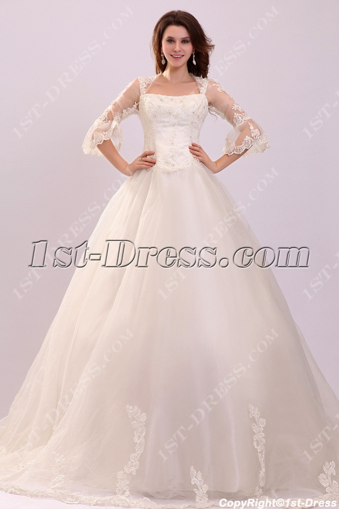Queen Anne 1 2 Lace Sleeves Princess Ball Gown Wedding Dress Loading Zoom