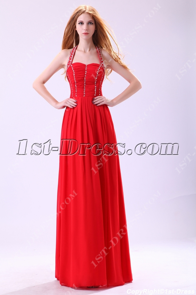 Red Halter Long Evening Dress for Petite Women:1st-dress.com
