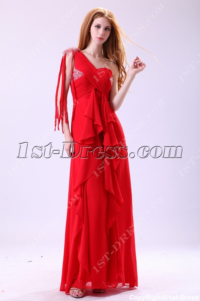 Red One Shoulder Fringed Bohemian Prom Dresses1st Dresscom