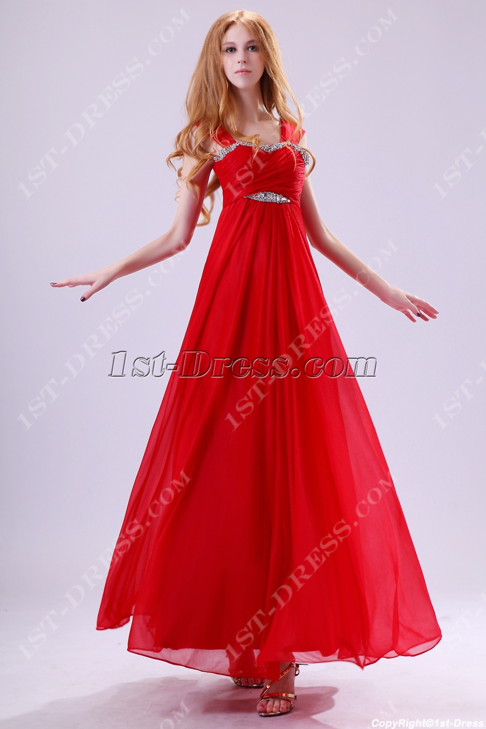 Red Straps Plus Size Graduation Dresses for 8th Grade Girls