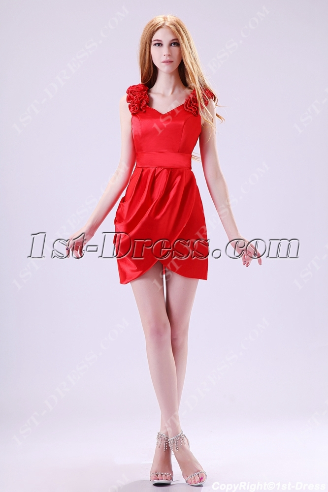 Red V Neckline Short Prom Dresses Under 1001st Dress