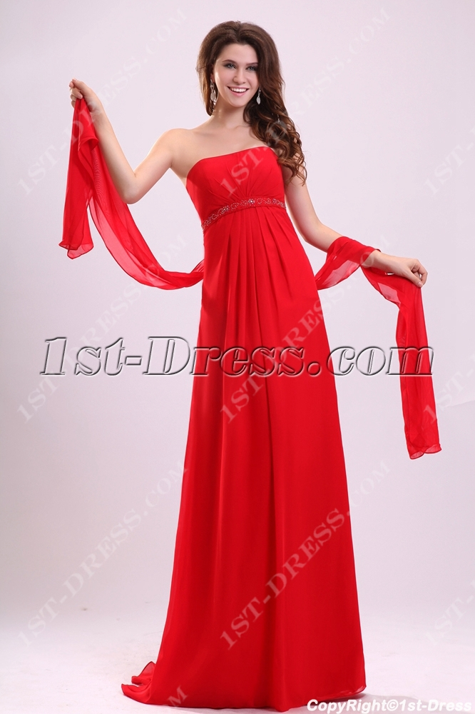 Romantic Red Chiffon Formal Party Dress For Pregnant1st Dress