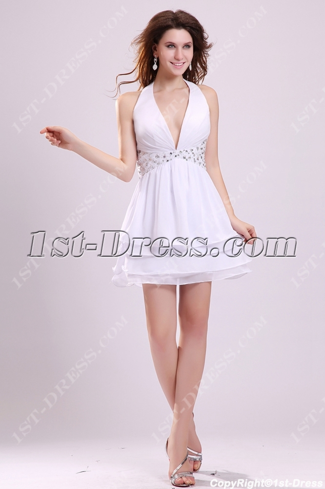 79cba6dfcdfe Sexy White Halter Mini Club Dresses with Open Back (Free Shipping)