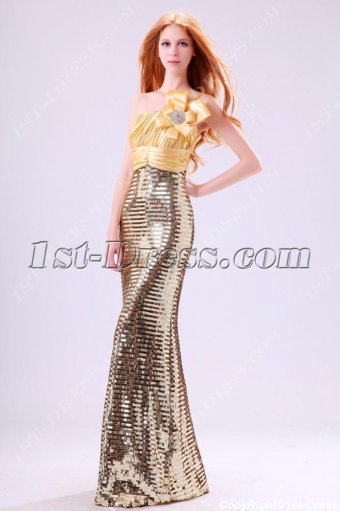 Shine Gold Sequins Sheath One Shoulder Evening Dress1st Dresscom