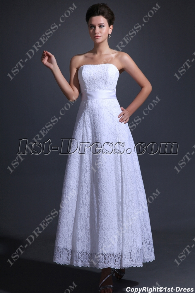 Simple lace tea length bridal gown for beach 1st for Simple tea length wedding dresses