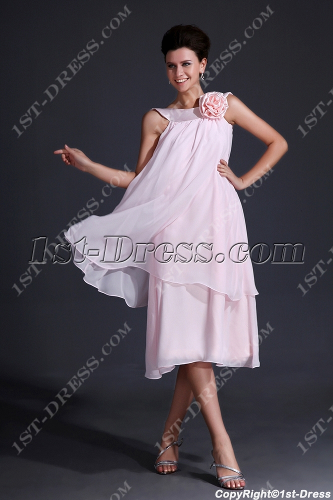 Simple Pink Short Mother of Groom Dress