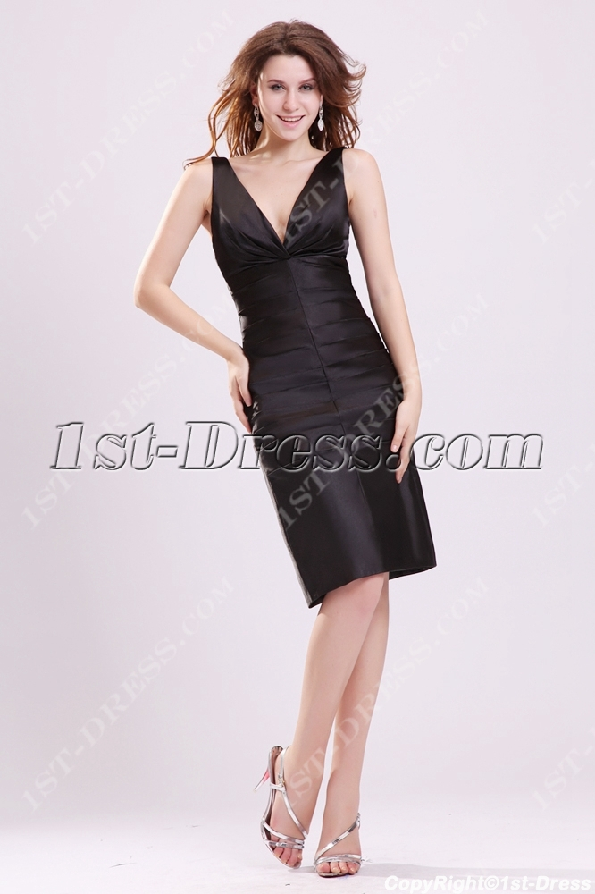 Simple Plunge V-neckline Little Black Dress