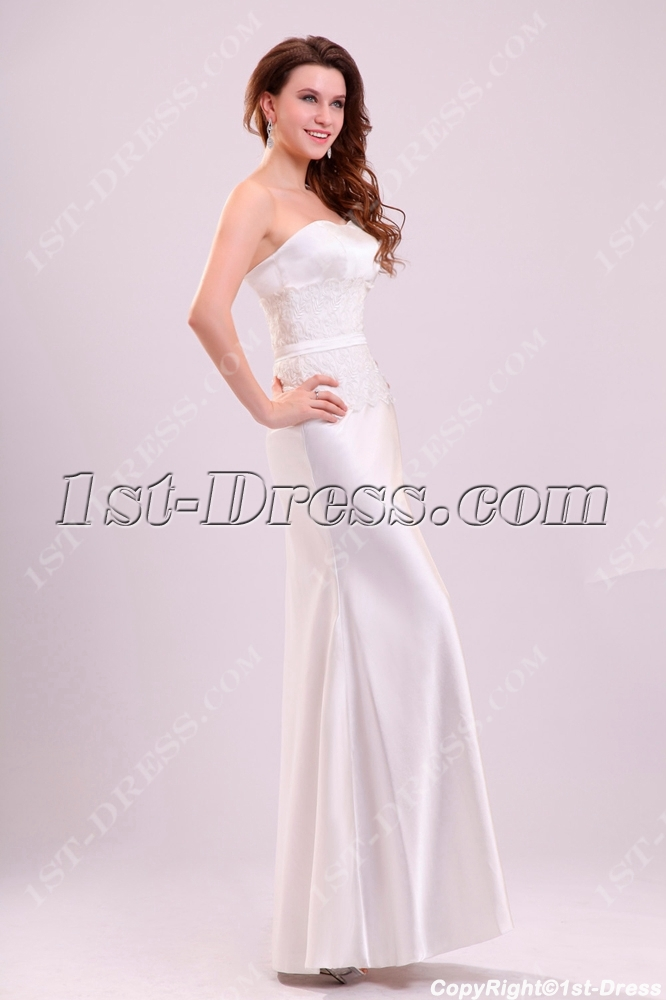 Simple sheath satin casual wedding gown 1st for Simple casual wedding dresses