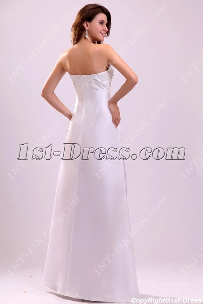 Informal Wedding Dresses.Simple Strapless Floor Length Informal Wedding Dress