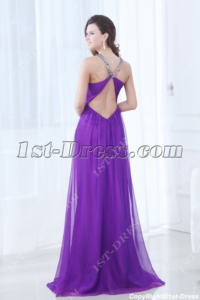 Spaghetti Straps Open Back Purple Plus Size Evening Dress for Beach