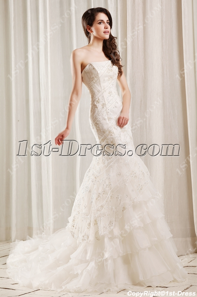 Spectacular Beaded Fishtail Wedding Dress with Corset:1st-dress.com