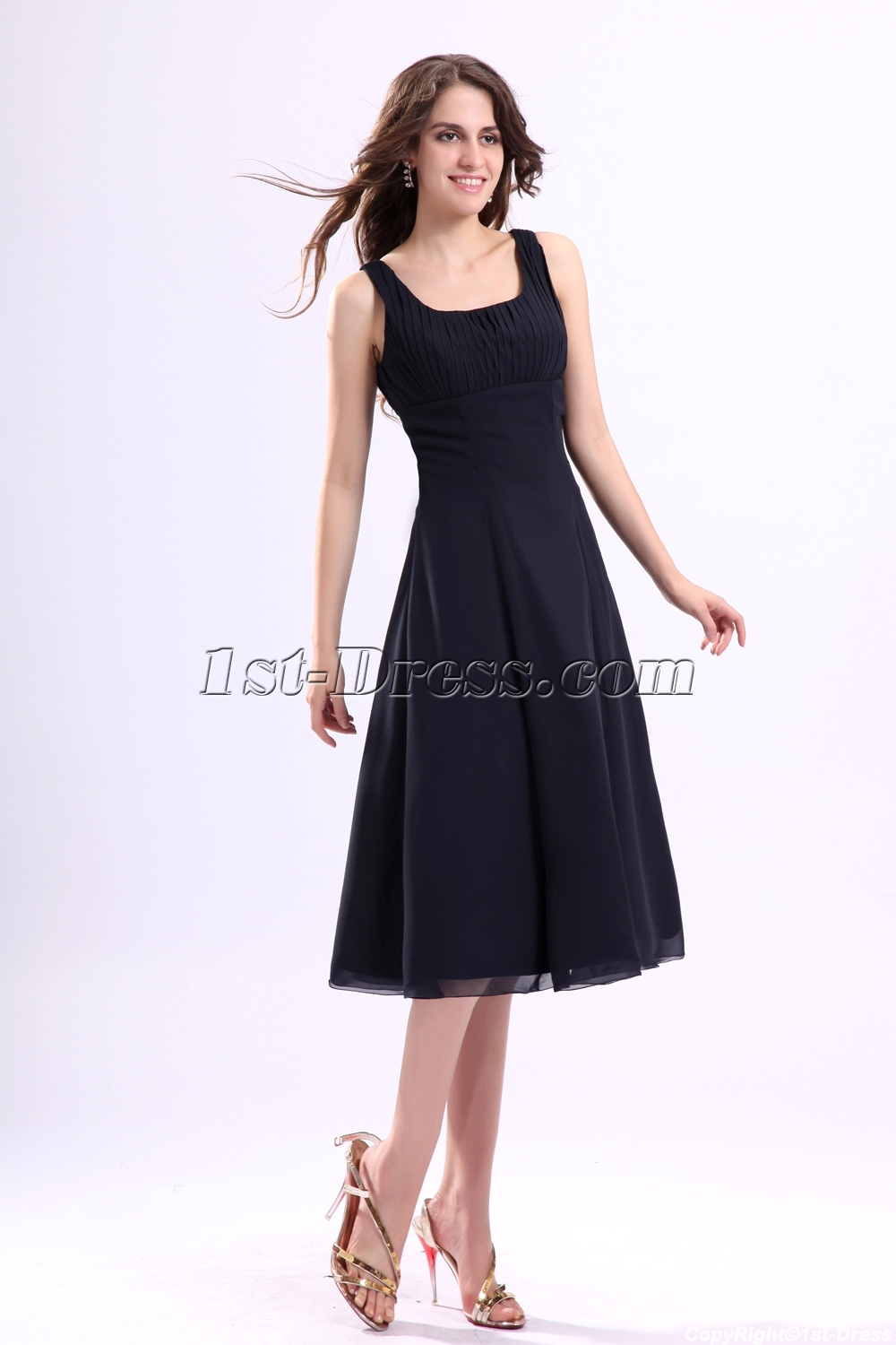 Black Tea Length Cocktail Dress - Ocodea.com