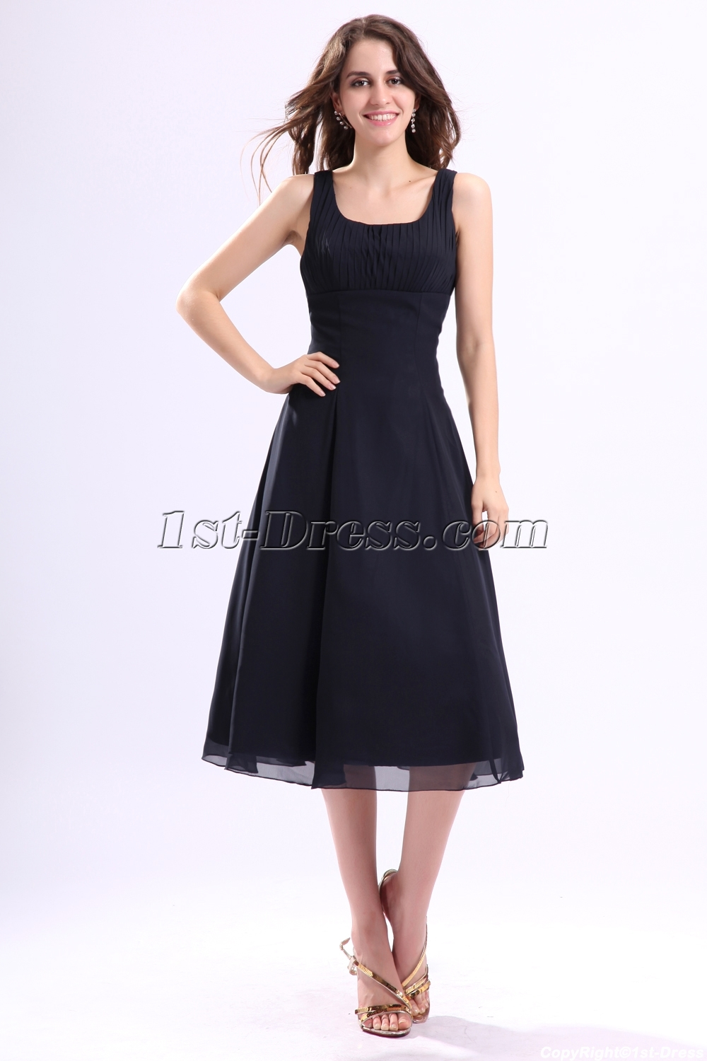 2adad09f2c Square Chiffon Tea Length Little Black Dress (Free Shipping)