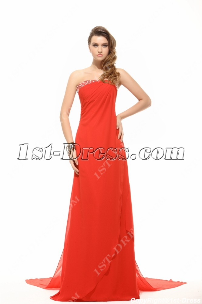 Strapless Column Long Red Evening Dress with Detachable Train:1st ...