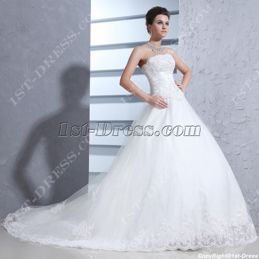 Strapless pretty 2014 ball gown wedding dress 1st for Pretty ball gown wedding dresses
