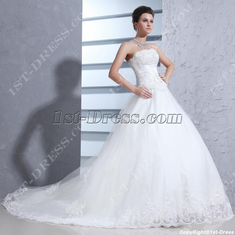 Wedding Ball Gowns 2014: Strapless Pretty 2014 Ball Gown Wedding Dress:1st-dress.com