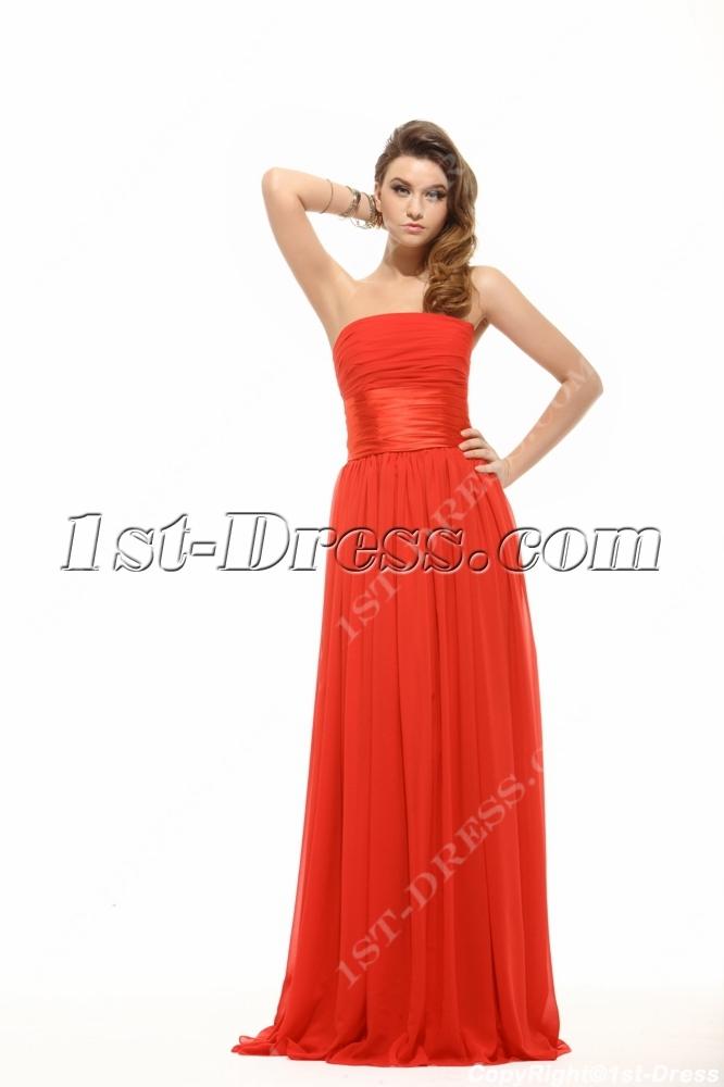 Strapless Red Soft Chiffon Plus Size Prom Dress Cheap:1st-dress.com