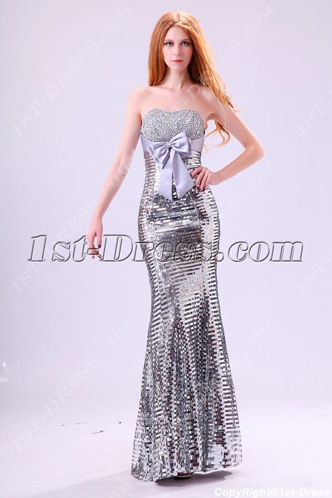 Strapless Silver Sequins 2014 Evening Dress1st Dress