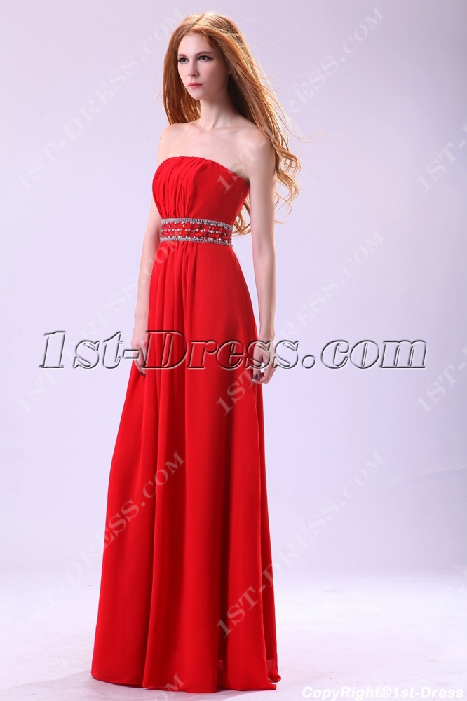 Stylish Strapless Chiffon Plus Size Affordable Prom Dresses1st