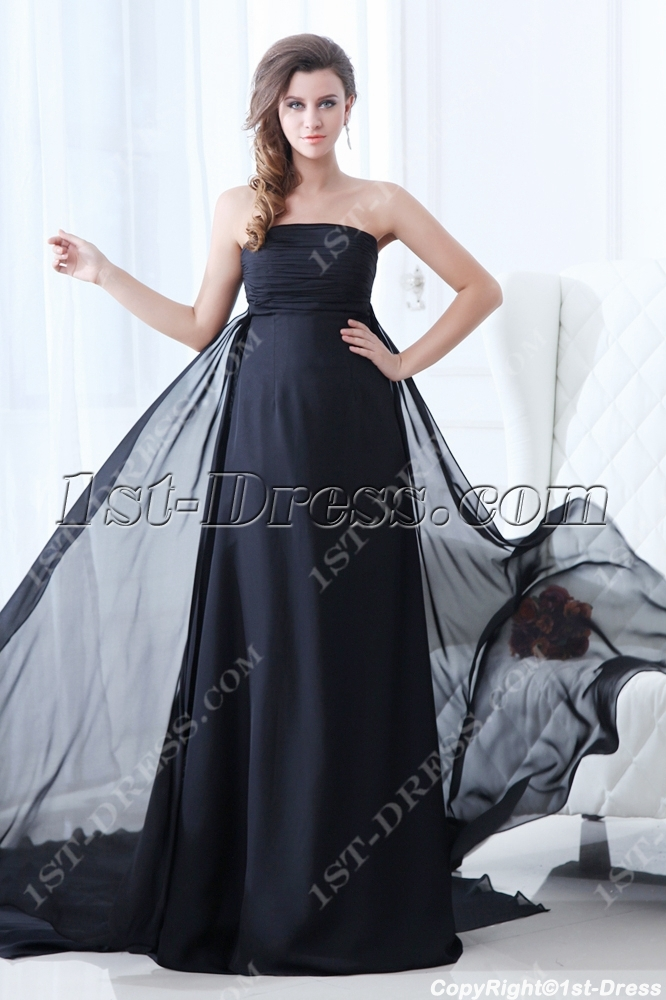Superior Black Strapless Plus Size Evening Dress 2014:1st-dress.com