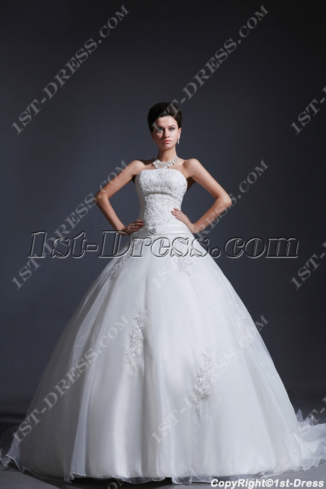 Sweet Strapless Cinderella Ball Gown Wedding Dress 2014:1st-dress.com