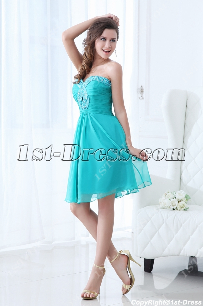 Sweet Teal Blue Short Junior Prom Dress:1st-dress.com