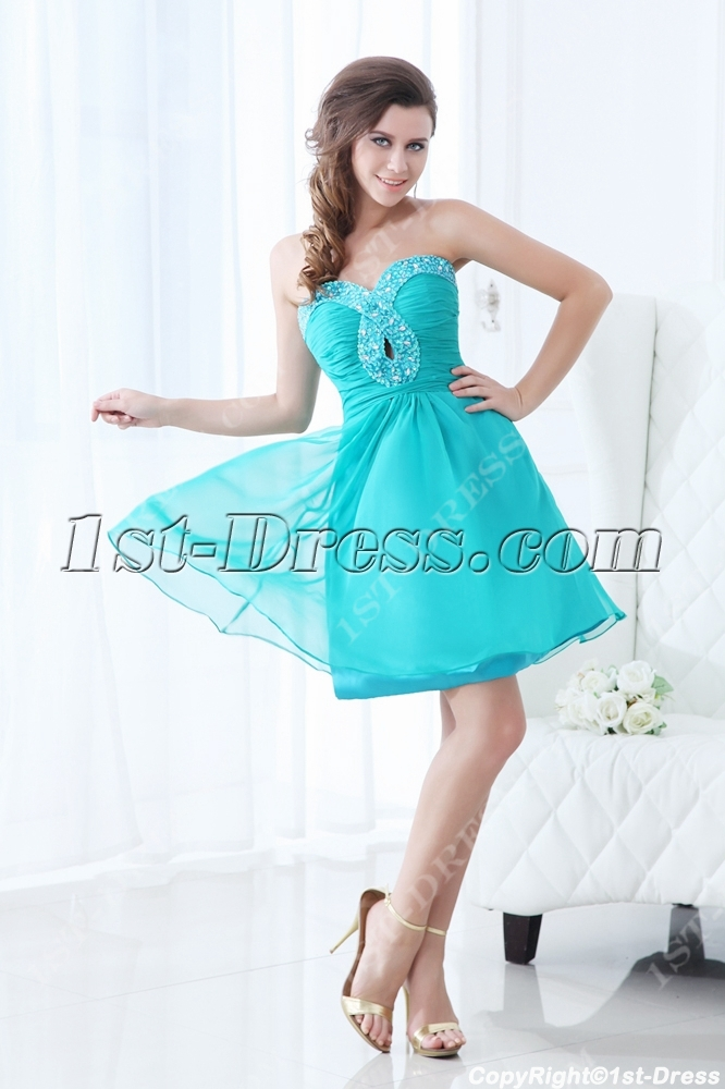 f3eab5d54 Sweet Teal Blue Short Junior Prom Dress (Free Shipping)