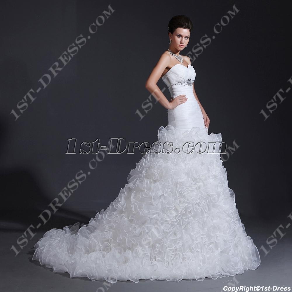 Sweetheart mermaid ruffled wedding dresses 2014 1st for Ruffled mermaid wedding dress
