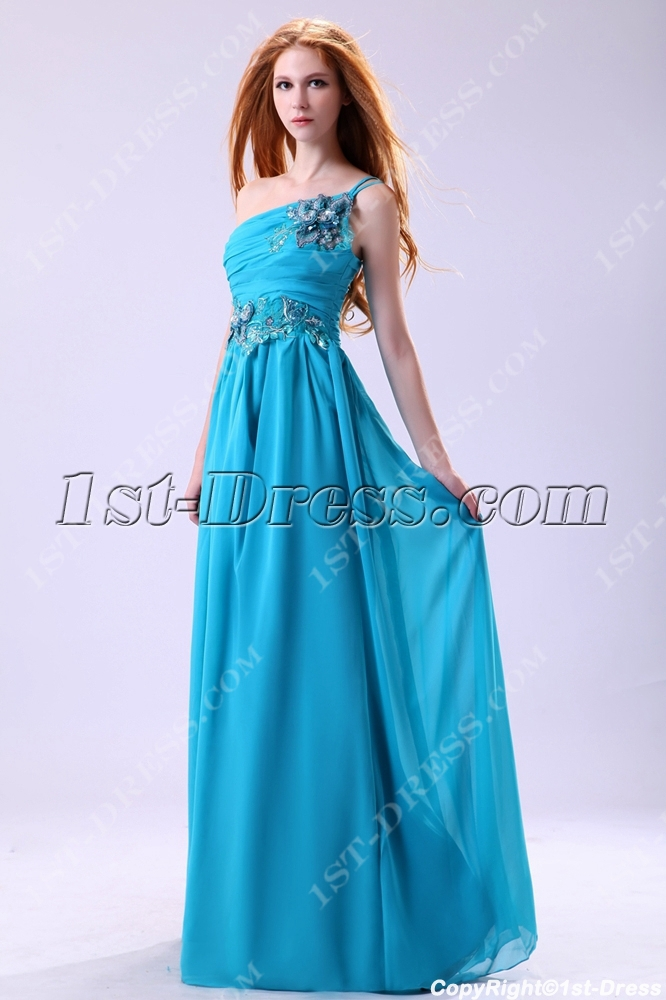 Teal Blue One Shoulder Chiffon Masquerade Evening Dress:1st-dress.com